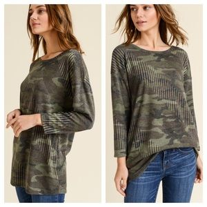 Tops - Camo Ribbed Criss Cross Back Long Sleeve Top